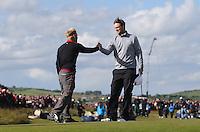 Sunday 31st May 2015; Søren Kjeldsen, Denmark, is congratulated by Bernd Wiseberger, Austria<br /> <br /> Dubai Duty Free Irish Open Golf Championship 2015, Round 4 County Down Golf Club, Co. Down. Picture credit: John Dickson / DICKSONDIGITAL