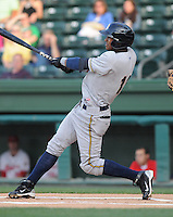 Infielder Jimmy Parades (13) of the Charleston RiverDogs, Class A affiliate of the New York Yankees, in a game against the Greenville Drive on May 27, 2010, at Fluor Field at the West End in Greenville, S.C. Photo by: Tom Priddy/Four Seam Images