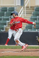 Dalton Guthrie (5) of the Lakewood BlueClaws follows through on his swing against the Kannapolis Intimidators at Kannapolis Intimidators Stadium on April 8, 2018 in Kannapolis, North Carolina.  The Intimidators defeated the BlueClaws 4-3 in game two of a double-header.  (Brian Westerholt/Four Seam Images)