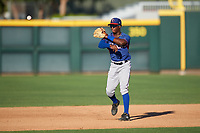 AZL Rangers second baseman Keithron Moss (24) during an Arizona League game against the AZL Athletics Gold on July 15, 2019 at Hohokam Stadium in Mesa, Arizona. The AZL Athletics Gold defeated the AZL Rangers 9-8 in 11 innings. (Zachary Lucy/Four Seam Images)