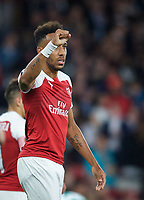 Pierre-Emerick Aubameyang of Arsenal celebrates his second goal during the UEFA Europa League match group between Arsenal and Vorskla Poltava at the Emirates Stadium, London, England on 20 September 2018. Photo by Andrew Aleks / PRiME Media Images.
