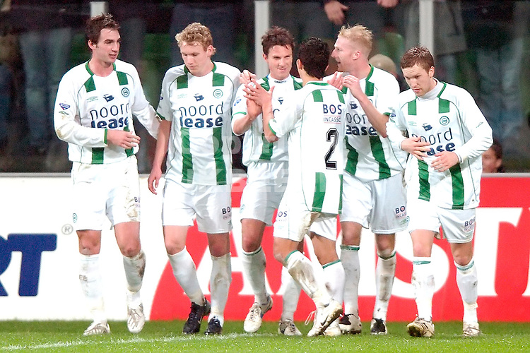 fc groningen - nec eredivisie seizoen 2007-2008 23-01-2008.groningen viert de 1-0.fotograaf Jan Kanning *** Local Caption ***
