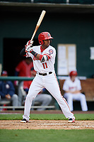Harrisburg Senators shortstop Osvaldo Abreu (11) at bat during the first game of a doubleheader against the New Hampshire Fisher Cats on May 13, 2018 at FNB Field in Harrisburg, Pennsylvania.  New Hampshire defeated Harrisburg 6-1.  (Mike Janes/Four Seam Images)