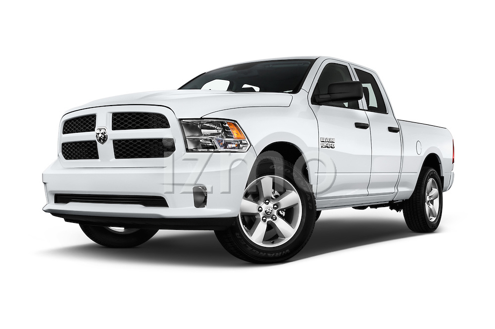 Stock pictures of low aggressive front three quarter view of 2016 Ram 1500 Express Express 4 Door Pickup Low Aggressive