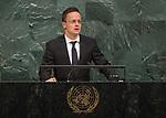 72 General Debate – 22 September <br /> <br /> <br /> <br /> Hungarian Minister for Foreign Affairs, Péter Szijjártó