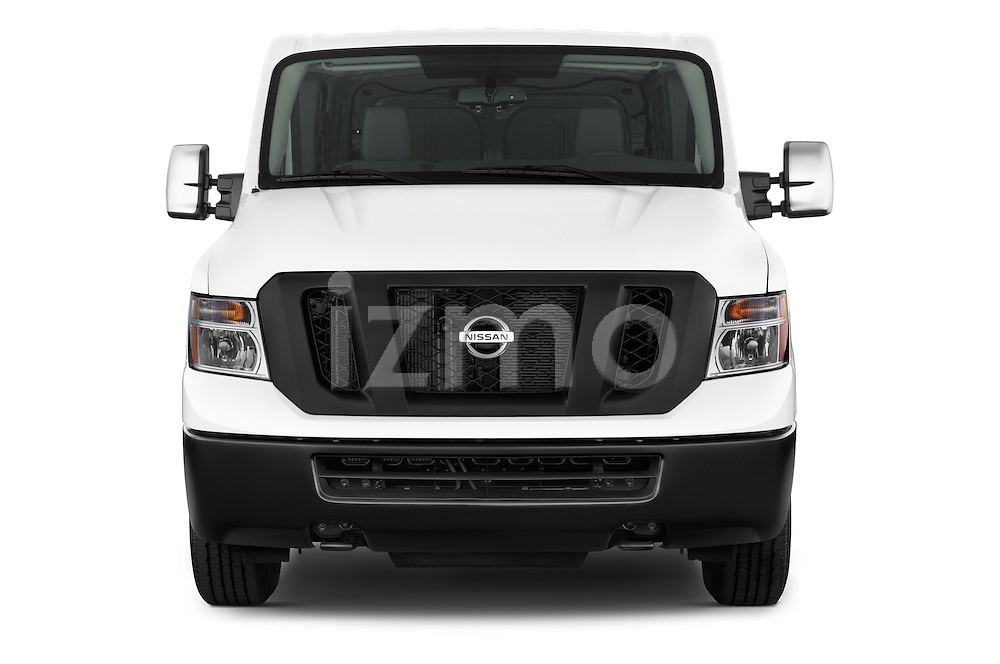 Car photography straight front view of a 2015 Nissan NV Cargo 2500 Standard Roof S V6 Door Cargo Van Front View