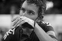 exhausted Geraint Thomas (GBR) minutes after finishing the 100th TdF<br /> <br /> Tour de France 2013<br /> (final) stage 21: Versailles - Paris Champs-Elysées<br /> 133,5km