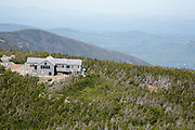 View of Greenleaf Hut from Geenleaf Trail in the White Mountains of New Hampshire.
