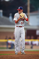 Auburn Doubledays pitcher Taylor Guilbeau (30) gets ready to deliver a pitch during a game against the Batavia Muckdogs on September 5, 2015 at Dwyer Stadium in Batavia, New York.  Batavia defeated Auburn 6-3.  (Mike Janes/Four Seam Images)