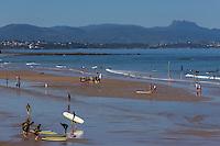 France, Aquitaine, Pyrénées-Atlantiques, Pays Basque, Biarritz: Plage de la Côte des Basques  et surfers //  France, Pyrenees Atlantiques, Basque Country, Biarritz: the Côte des Basques beach and surfers