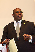 """Daryl Parks and Benjamin Crump, attorneys for the families of Trayvon Martin and Mike Brown speaking at """"Checking Under the Hood: Defining Trayvon Martin's Legacy, From Conversation to Legislation"""" at Harvard Law School Cambridge MA with Sybrina Fulton Trayvon Martin's mother hosted by Professor Charles Ogletree of the Charles Hamilton Houston Institute at Austin Hall Ames Courtroom November 18, 2013"""