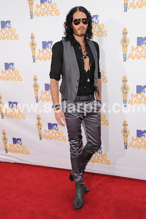 **ALL ROUND PICTURES FROM SOLARPIX.COM**.**SYNDICATION RIGHTS FOR UK, AUSTRALIA, DENMARK, PORTUGAL, S. AFRICA, SPAIN & DUBAI (U.A.E) & ASIA (EXCLUDING JAPAN) ONLY**.2010 MTV Movie Awards - Arrivals, Gibson Amphitheatre, Universal City, CA, USA, 06 June 2010.This pic: Russell Brand.JOB REF: 11415    PHZ charlotte    DATE: 06_06_2010.**MUST CREDIT SOLARPIX.COM OR DOUBLE FEE WILL BE CHARGED**.**MUST NOTIFY SOLARPIX OF ONLINE USAGE**.**CALL US ON: +34 952 811 768 or LOW RATE FROM UK 0844 617 7637**