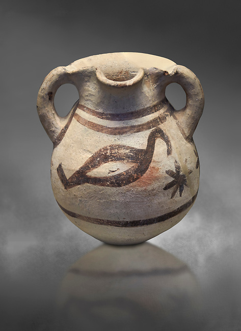 Cycladic amphora with bird decoration.  Cycladic III (2300-2000 BC) , Phylakopi, Melos. National Archaeological Museum Athens. cat no 5748.   Gray background.<br /> <br /> <br /> During this Ctcladic period pottery was predominatly monochrome and brnished , this amphora is a rare example of bird decorated pottery from the era