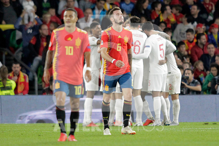 England's players celebrate goal in presence of Spain's Thiago Alcantara (l) and Saul Niguez (c) during UEFA Nations League 2019 League Phase match. October 15,2018.(ALTERPHOTOS/Acero)