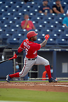 Washington Nationals Victor Robles (16) bats during a Major League Spring Training game against the Houston Astros on March 19, 2021 at The Ballpark of the Palm Beaches in Palm Beach, Florida.  (Mike Janes/Four Seam Images)