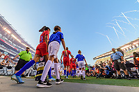 PHILADELPHIA, PA - AUGUST 29: Christen Press #23 of the United States during pre-game walkout prior to a game between Portugal and USWNT at Lincoln Financial Field on August 29, 2019 in Philadelphia, PA.