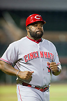 AZL Reds coach Lenny Harris during the game against the AZL Giants on August 12, 2017 at Scottsdale Stadium in Scottsdale, Arizona. AZL Giants defeated the AZL Reds 1-0. (Zachary Lucy/Four Seam Images)