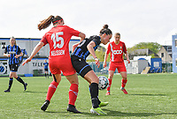 Elien Nelissen (15) of Standard  pictured fighting for the ball with Charlotte Laridon (15) of Club Brugge during a female soccer game between Club Brugge Dames YLA and Standard Femine de Liege on the seventh matchday in Play-Off 1 of the 2020 - 2021 season of Belgian Scooore Womens Super League , saturday 15 May 2021  in Brugge , Belgium . PHOTO SPORTPIX.BE   SPP   DAVID CATRY