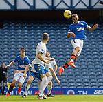 22.08.2020 Rangers v Kilmarnock: Kemar Roofe's header comesa off the post and away