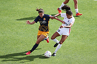 SANDY, UT - SEPTEMBER 26: Arielle Ship #17 of Utah Royals FC and Madison Hammond 99 of OL Reign play for the ball before a game between OL Reign and Utah Royals FC at Rio Tinto Stadium on September 26, 2020 in Sandy, Utah.