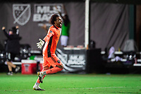 LAKE BUENA VISTA, FL - AUGUST 06: Pedro Gallese #1 of Orlando City SC celebrates a goal during a game between Orlando City SC and Minnesota United FC at ESPN Wide World of Sports on August 06, 2020 in Lake Buena Vista, Florida.