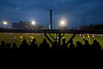 Runcorn Town 1 Runcorn Linnets 0, 26/12/2013. The Pavilions, North West Counties League Premier Division. Supporters watching the action during the second-half of the Boxing Day derby match between Runcorn Town and visitors Runcorn Linnets at the Pavilions, Runcorn, in a top-of the table North West Counties League premier division match. Runcorn Linnets won 1-0 and overtook their neighbours at the top of the league in a game watched by 803 spectators. Runcorn Linnets were a successor club to Runcorn FC, one of England foremost non-League clubs of the 1970s and 1980s. Photo by Colin McPherson.