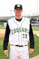 April 11 2010: A. J. Huttenlocker of the Kane County Cougars at Elfstrom Stadium in Geneva, IL. The Cougars are the Low A affiliate of the Oakland A's. Photo by: Chris Proctor/Four Seam Images