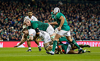 Saturday 2nd February 2019 | Ireland vs England<br /> <br /> Devin Toner tackles Mark Wilson during the opening Guinness 6 Nations clash between Ireland and England at the Aviva Stadium, Lansdowne Road, Dublin, Ireland.  Photo by John Dickson / DICKSONDIGITAL
