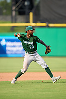 Daytona Tortugas third baseman Reyny Reyes (29) throws to first base during a game against the Clearwater Threshers on June 24, 2021 at BayCare Ballpark in Clearwater, Florida.  (Mike Janes/Four Seam Images)