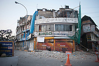A destroyed building in Kathmandu, Nepal.  A 7.3 magnitude earthquake killed at least 37 people and spread panic in Nepal on Tuesday, bringing down buildings already weakened by a devastating tremor less than three weeks ago and unleashing landslides in Himalayan valleys near Mount Everest. Kathmandu, Nepal. May 12, 2015