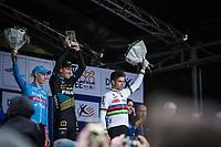 finish podium of the 2018 Koppenberg (Belgium):<br /> 1st: Toon Aerts (BEL/Telenet Fidea Lions)<br /> 2nd: Michael Vanthourenhout (BEL/Marlux Bingoal)<br /> 3th: Wout Van Aert (BEL/Cibel Cebon Offroad Team)