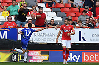 Matty Blair of Cheltenham FC scores the first Goal and celebrates during Charlton Athletic vs Cheltenham Town, Sky Bet EFL League 1 Football at The Valley on 11th September 2021