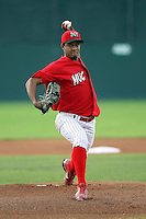 September 15 2008:  Starting pitcher Hector Cardenas of the Batavia Muckdogs delivers a pitch during the NYP Championship game at Dwyer Stadium in Batavia, NY.  Photo by:  Mike Janes/Four Seam Images