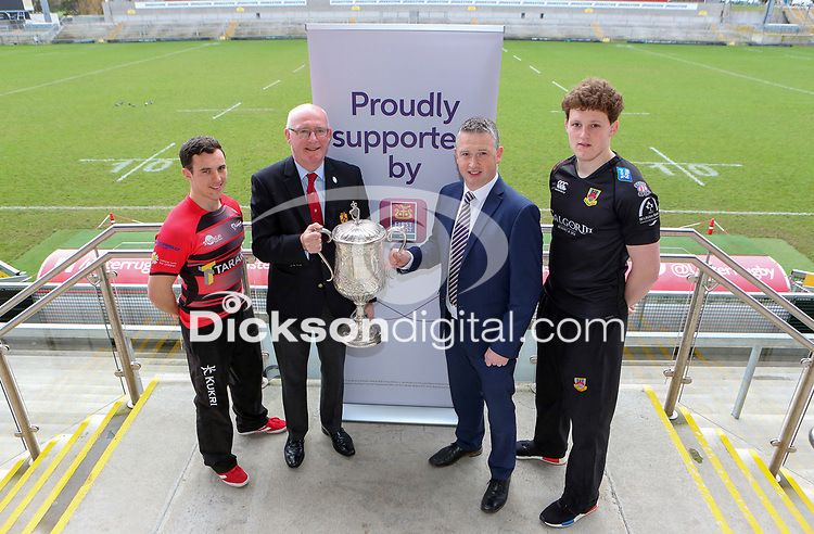 Monday 4th February 2019 | First Trust Ulster Senior Cup Final Preview<br /> <br /> City of Armagh's Harry Doyle, IRFU Ulster Branch President Stephen Elliott, First Trust Bank's James Beattie and Ballymena RFC's Matthew Norris pictured at Kingspan Stadium. Photo by John Dickson / DICKSONDIGITAL