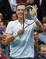 Rotterdam, The Netherlands. 15.02.2014. Tomas Berdych(TSJ) celebrating his victory at the ABN AMRO World tennis Tournament<br /> Photo:Tennisimages/Henk Koster
