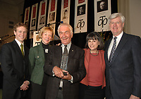 The winner of the 2008 Charles Taylor Prize for Literary Non-Fiction, Richard Gwyn, (middle holding his trophy) is congratulated by jurist J.B, McKinnon, Charlotte Gray, prize founder Noreen Taylor and jurist, the Honourable John Manley, at today's award ceremony in Toronto at the King Edward Hotel. Richard won the $25,000 prize for his book The Man Who Made Us; The Life and Times of John A Macdonald. (CNW Group/Charles Taylor Prize for Literary Non-Fiction)