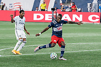 FOXBOROUGH, UNITED STATES - AUGUST 20: Cristian Penilla #70 of New England Revolution takes a shot at goal during a game between Philadelphia Union and New England Revolution at Gilette on August 20, 2020 in Foxborough, Massachusetts.