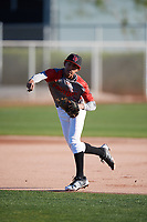 Steven Ondina (3) of International Baseball Academy HS in Gurabo, Puerto Rico during the Baseball Factory All-America Pre-Season Tournament, powered by Under Armour, on January 13, 2018 at Sloan Park Complex in Mesa, Arizona.  (Mike Janes/Four Seam Images)
