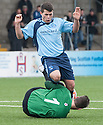 Ayr Utd Goalkeeper Graeme Smith saves at the feet of Forfar's Dale Hilson.