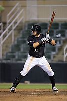 Brandon Dulin (31) of the Kannapolis Intimidators at bat against the Hickory Crawdads at Kannapolis Intimidators Stadium on April 22, 2017 in Kannapolis, North Carolina.  The Intimidators defeated the Crawdads 10-9 in 12 innings.  (Brian Westerholt/Four Seam Images)