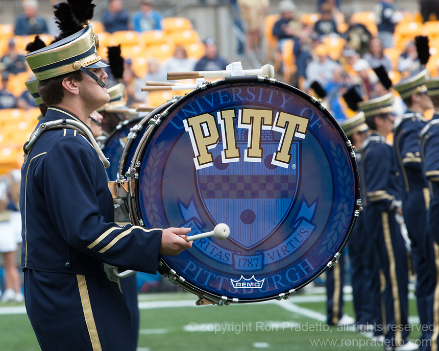 The Pitt marching band. The Georgia Tech Yellow Jackets defeated the Pitt Panthers 56-28 at Heinz Field, Pittsburgh Pennsylvania on October 25, 2014.