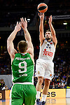 Real Madrid's player Sergio Llull and Unics Kazan's player Artsiom Parakhouski during match of Turkish Airlines Euroleague at Barclaycard Center in Madrid. November 24, Spain. 2016. (ALTERPHOTOS/BorjaB.Hojas)