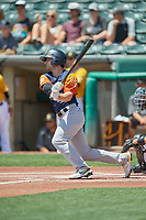 Pete Kozma (13) of the Las Vegas Aviators at bat against the Salt Lake Bees at Smith's Ballpark on June 27, 2021 in Salt Lake City, Utah. The Aviators defeated the Bees 5-3. (Stephen Smith/Four Seam Images)
