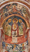 Pictures & images of the Byzantine apse fresco of Theotokos, depicting the Virgin Mary, the  Mother of God, and child,  in the Gelati Georgian Orthodox Church St George, 13th century, depicting scenes from the Passion of Christ.  The medieval Gelati monastic complex near Kutaisi in the Imereti region of western Georgia (country). A UNESCO World Heritage Site.
