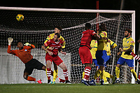 Myles Roberts of Wingate & Finchley denies George Purcell of Hornchurch during Hornchurch vs Wingate & Finchley, Pitching In Isthmian League Premier Division Football at Hornchurch Stadium on 6th October 2020