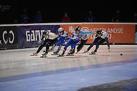 SPEEDSKATING: DORDRECHT: 06-03-2021, ISU World Short Track Speedskating Championships, SF 500m Men, Shaoang Liu (HUN), Konstantin Ivliev (RSU), Semen Elistratov (RSU), Stijn Desmet (BEL), Vladislav Bykanov (ISR), ©photo Martin de Jong