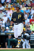 Pittsburgh Pirates second baseman Chris Bostick (63) at bat during a Grapefruit League Spring Training game against the New York Yankees on March 6, 2017 at LECOM Park in Bradenton, Florida.  Pittsburgh defeated New York 13-1.  (Mike Janes/Four Seam Images)