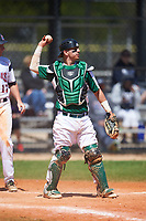 Farmingdale State Rams catcher Kenneth Johntry (7) throws the ball back to the pitcher during the first game of a doubleheader against the FDU-Florham Devils on March 15, 2017 at Lake Myrtle Park in Auburndale, Florida.  Farmingdale defeated FDU-Florham 6-3.  (Mike Janes/Four Seam Images)