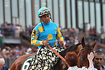 April 11, 2015: American Pharoah with jockey Victor Espinoza aboard entering the winners circle after winning the Arkansas Derby at Oaklawn Park in Hot Springs, AR. Justin Manning/ESW/CSM