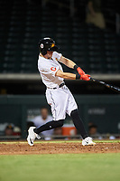 Mesa Solar Sox Ernie Clement (1), of the Cleveland Indians organization, at bat during an Arizona Fall League game against the Peoria Javelinas on September 21, 2019 at Sloan Park in Mesa, Arizona. Mesa defeated Peoria 4-1. (Zachary Lucy/Four Seam Images)